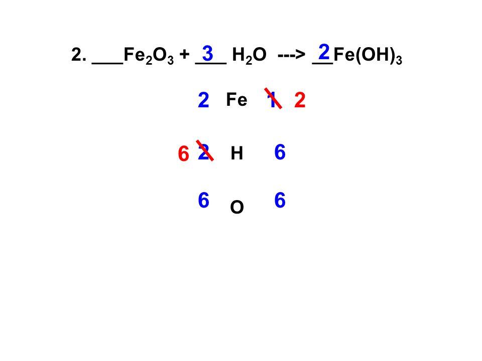 2. ___Fe 2 O 3 + ___ H 2 O ---> __Fe(OH) 3 Fe H O 21 2 3 2 2 6 6 66