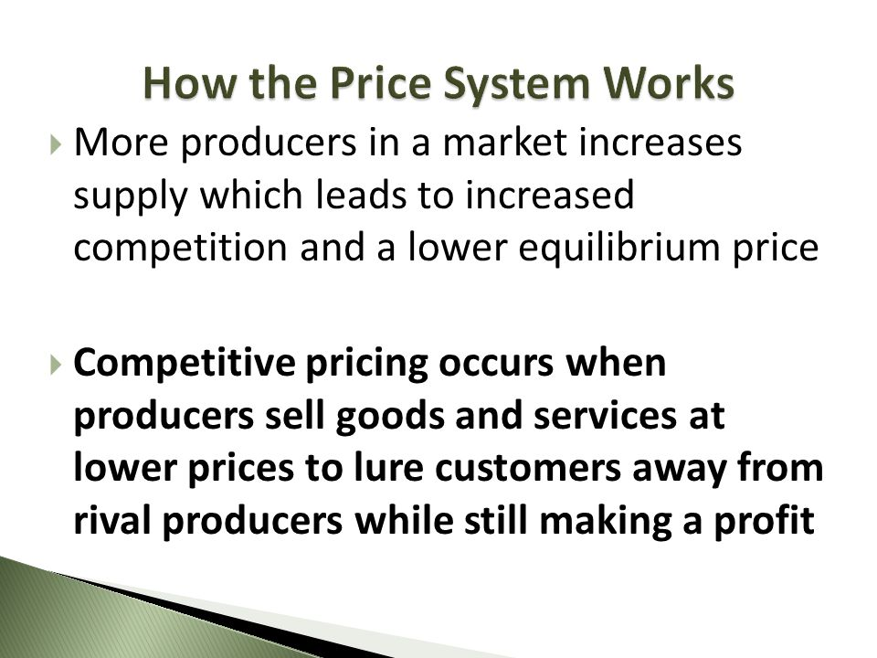 More producers in a market increases supply which leads to increased competition and a lower equilibrium price Competitive pricing occurs when produce