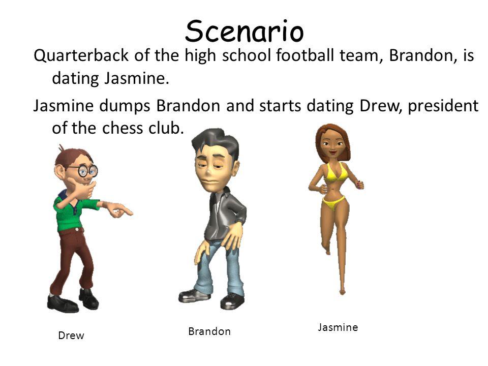 Scenario Quarterback of the high school football team, Brandon, is dating Jasmine. Jasmine dumps Brandon and starts dating Drew, president of the ches