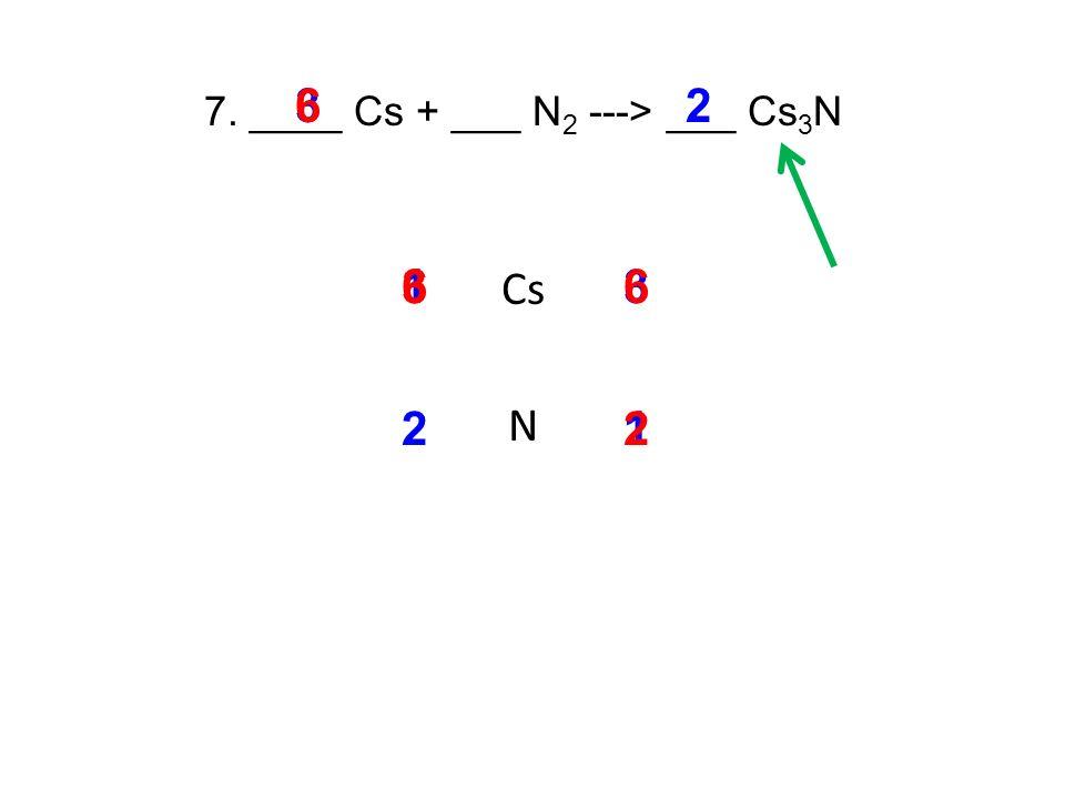 7. ____ Cs + ___ N 2 ---> ___ Cs 3 N Cs N 13 3 3 21 2 2 6 6 6
