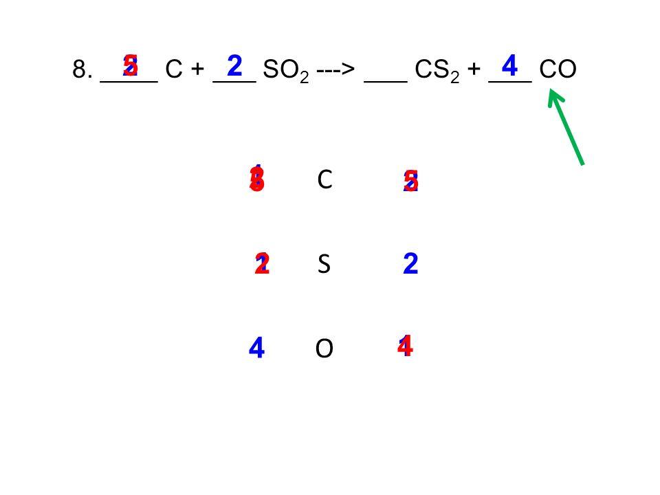 8. ____ C + ___ SO 2 ---> ___ CS 2 + ___ CO C S O 1 2 1 2 2 2 2 2 4 1 4 4 5 5 5