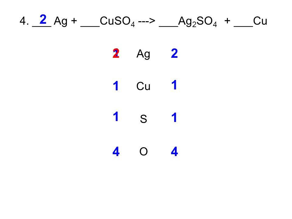 4. ___ Ag + ___CuSO 4 ---> ___Ag 2 SO 4 + ___Cu Ag Cu S O 12 1 1 1 1 44 2 2