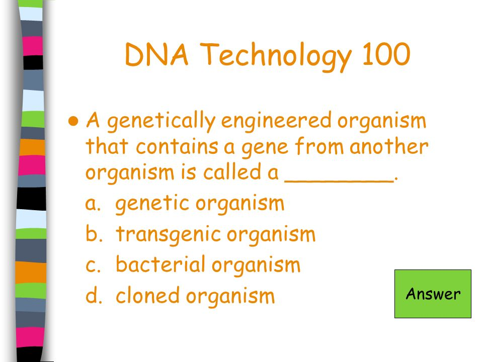 DNA Technology 100 A genetically engineered organism that contains a gene from another organism is called a ________. a.genetic organism b.transgenic