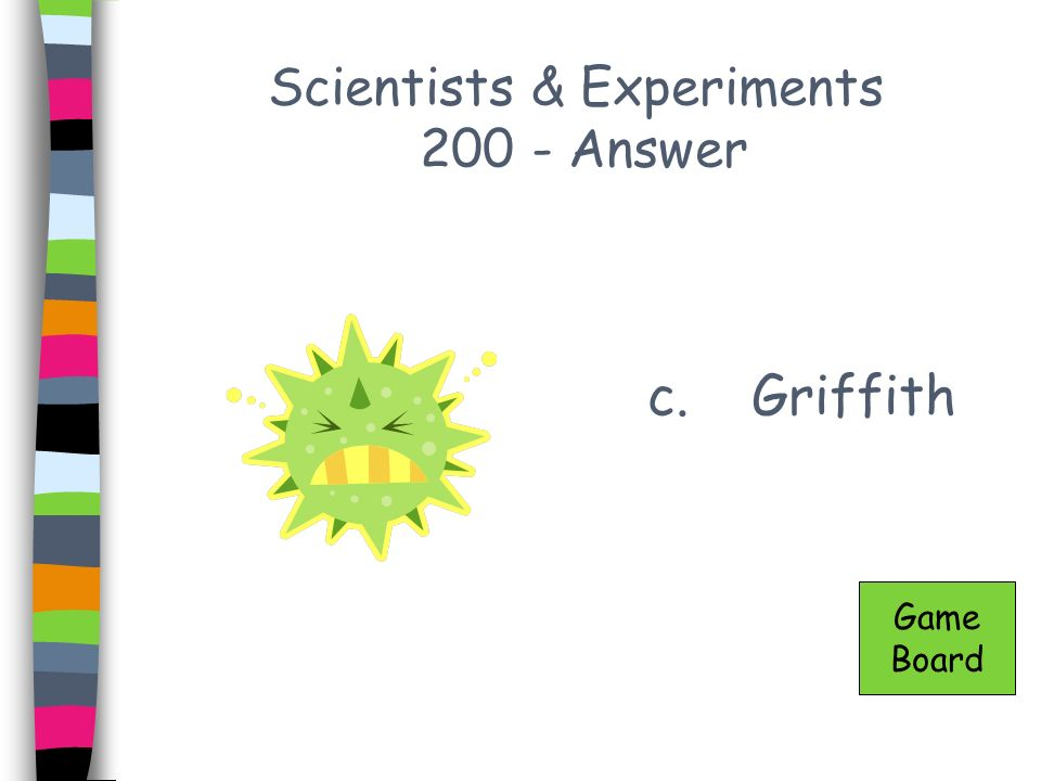 Scientists & Experiments 300 - Answer c.Watson & Crick Game Board