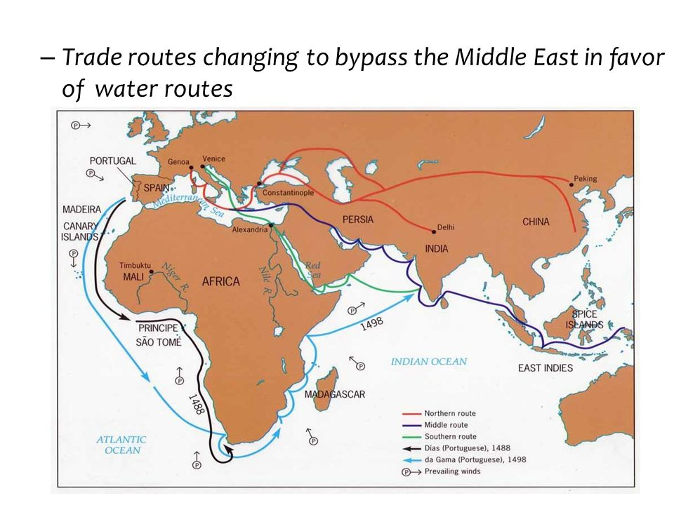 – Trade routes changing to bypass the Middle East in favor of water routes