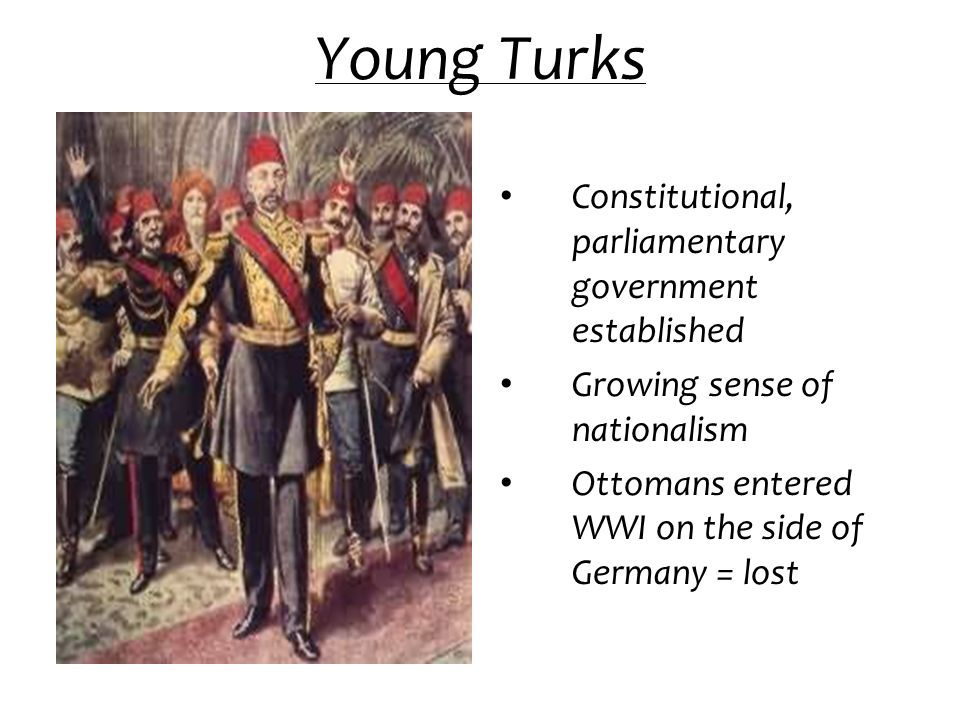 Young Turks Constitutional, parliamentary government established Growing sense of nationalism Ottomans entered WWI on the side of Germany = lost