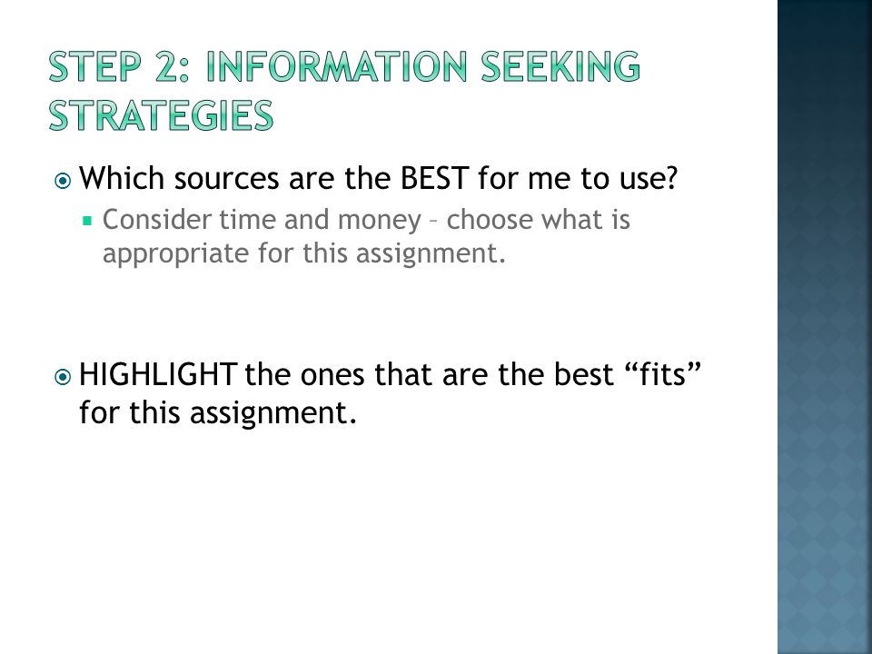 Which sources are the BEST for me to use.