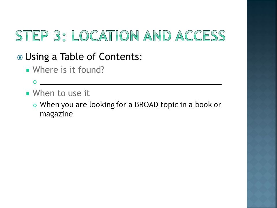 Using a Table of Contents: Where is it found.