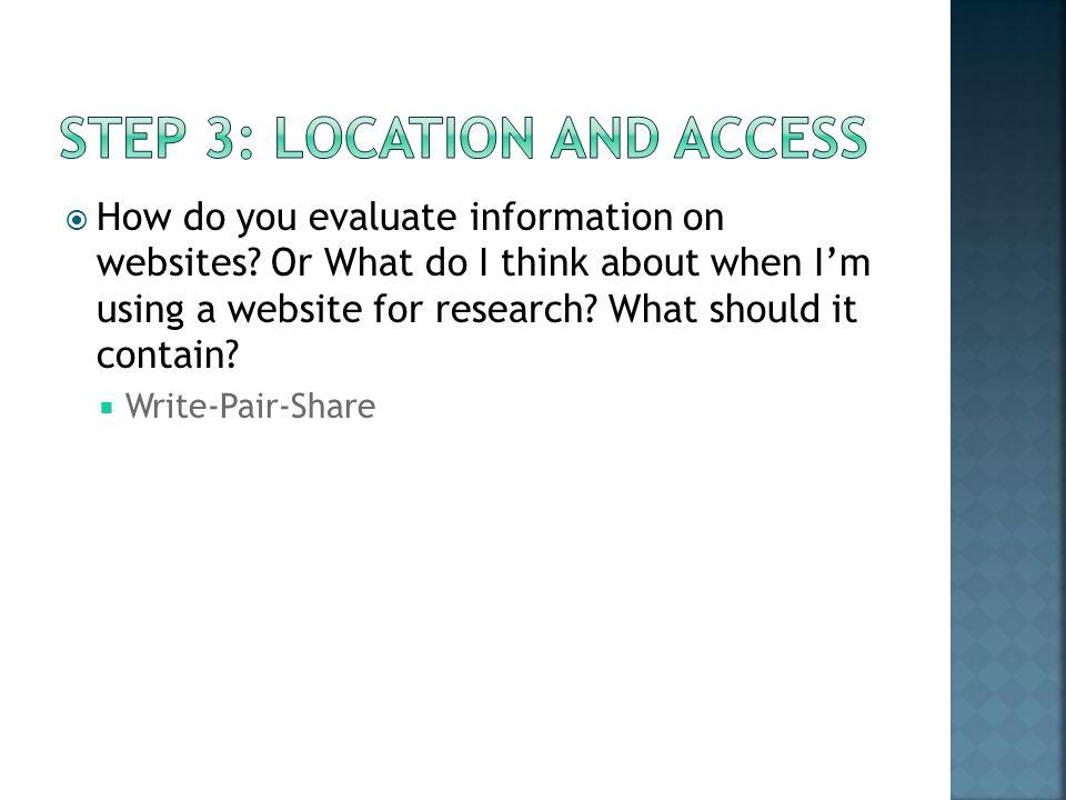 How do you evaluate information on websites.