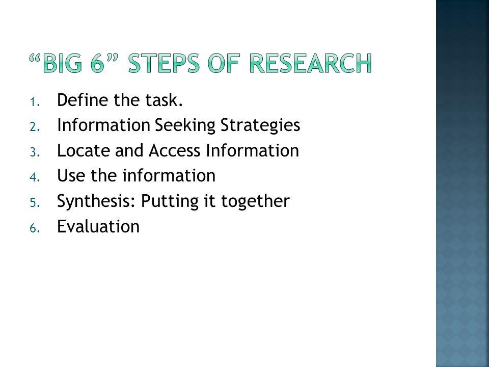 1. Define the task. 2. Information Seeking Strategies 3.