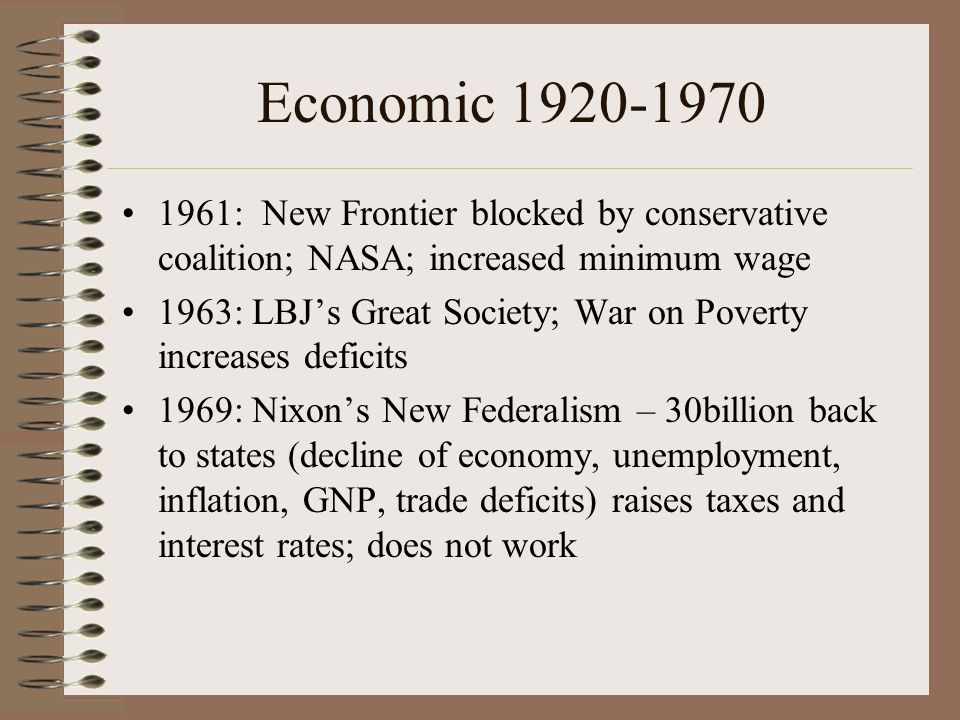Economic 1920-1970 1961: New Frontier blocked by conservative coalition; NASA; increased minimum wage 1963: LBJs Great Society; War on Poverty increases deficits 1969: Nixons New Federalism – 30billion back to states (decline of economy, unemployment, inflation, GNP, trade deficits) raises taxes and interest rates; does not work
