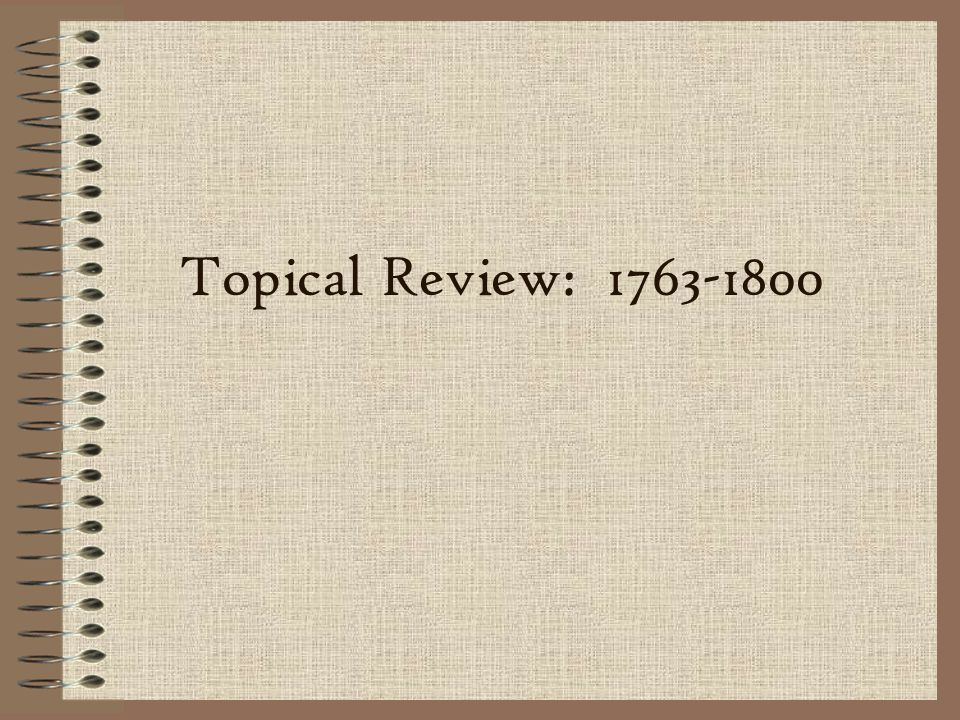 Topical Review: 1763-1800