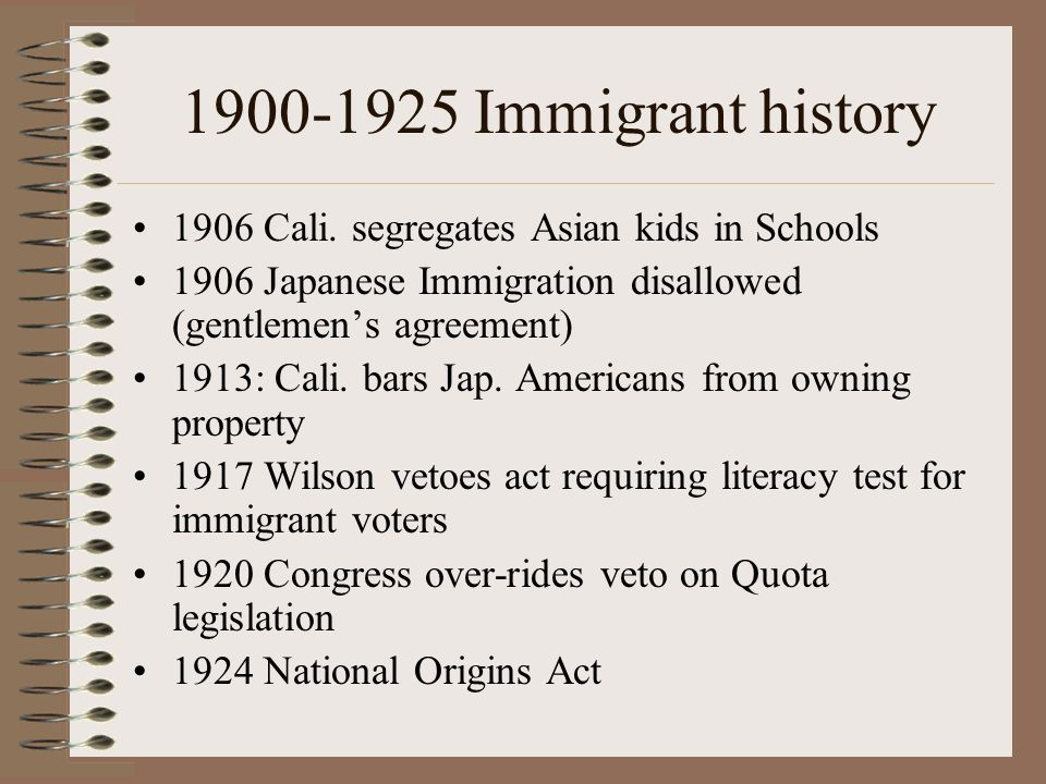 1900-1925 Immigrant history 1906 Cali.