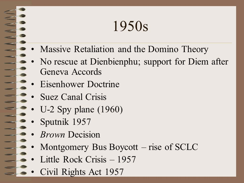 1950s Massive Retaliation and the Domino Theory No rescue at Dienbienphu; support for Diem after Geneva Accords Eisenhower Doctrine Suez Canal Crisis U-2 Spy plane (1960) Sputnik 1957 Brown Decision Montgomery Bus Boycott – rise of SCLC Little Rock Crisis – 1957 Civil Rights Act 1957
