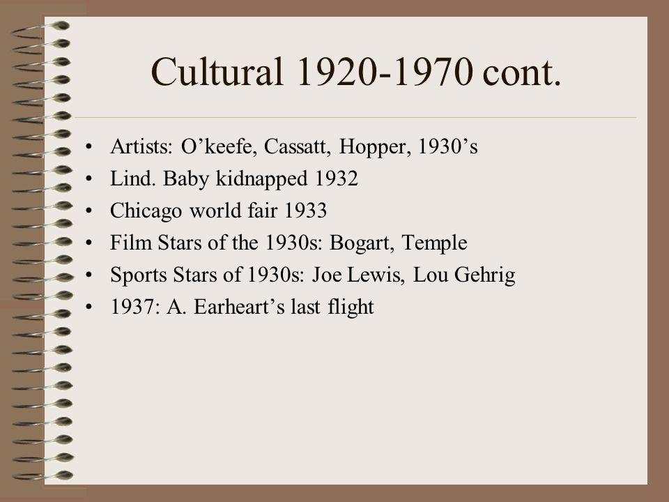 Cultural 1920-1970 cont. Artists: Okeefe, Cassatt, Hopper, 1930s Lind. Baby kidnapped 1932 Chicago world fair 1933 Film Stars of the 1930s: Bogart, Te