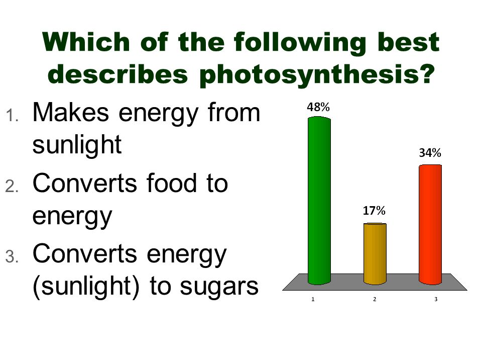 Which of the following best describes photosynthesis? 1. Makes energy from sunlight 2. Converts food to energy 3. Converts energy (sunlight) to sugars