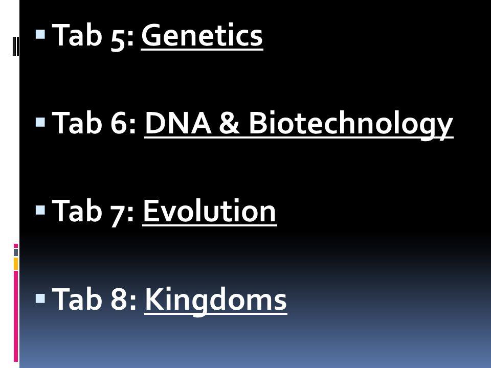 Tab 5: Genetics Tab 6: DNA & Biotechnology Tab 7: Evolution Tab 8: Kingdoms