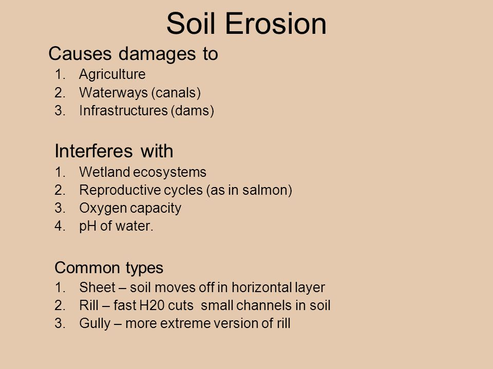 Soil Erosion Causes damages to 1.Agriculture 2.Waterways (canals) 3.Infrastructures (dams) Interferes with 1.Wetland ecosystems 2.Reproductive cycles