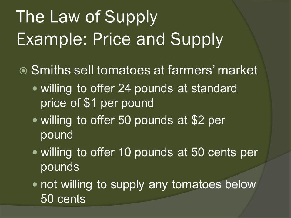 The Law of Supply Example: Price and Supply Smiths sell tomatoes at farmers market willing to offer 24 pounds at standard price of $1 per pound willin