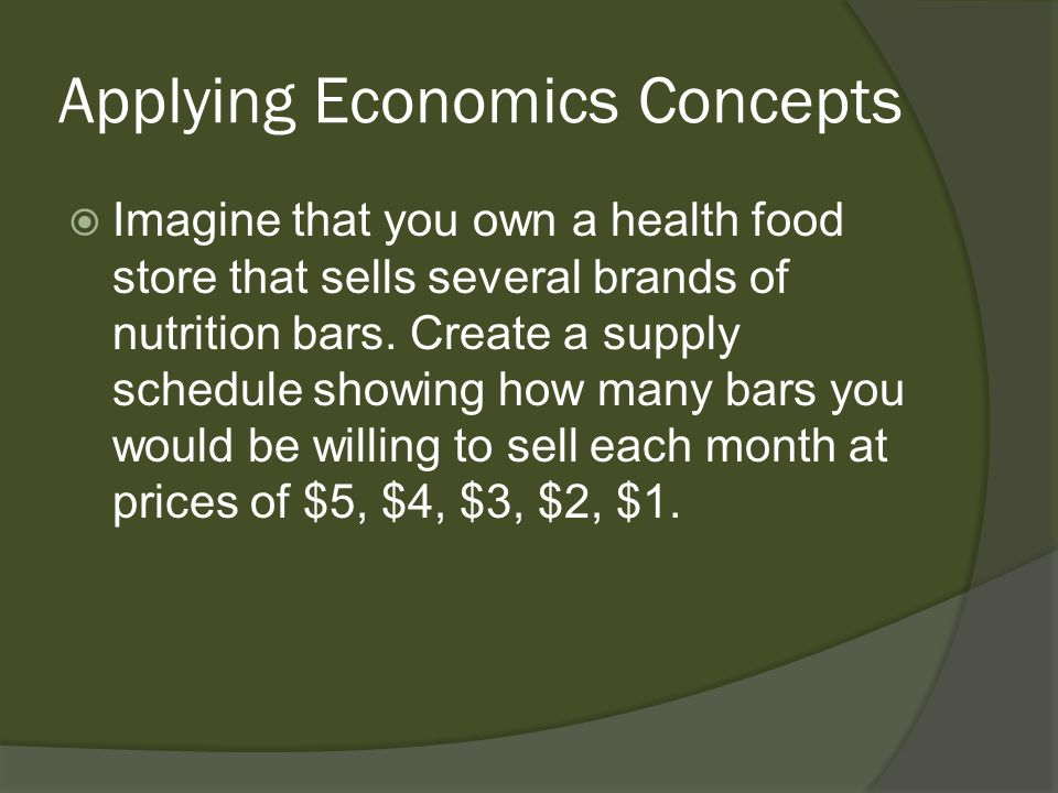 Applying Economics Concepts Imagine that you own a health food store that sells several brands of nutrition bars. Create a supply schedule showing how