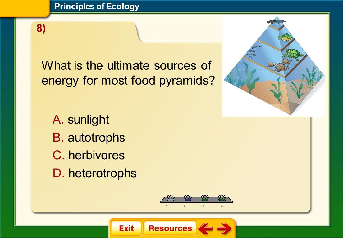 1.A 2.B 3.C 4.D FQ 6 A. sunlight B. autotrophs C. herbivores D. heterotrophs Principles of Ecology 8) What is the ultimate sources of energy for most