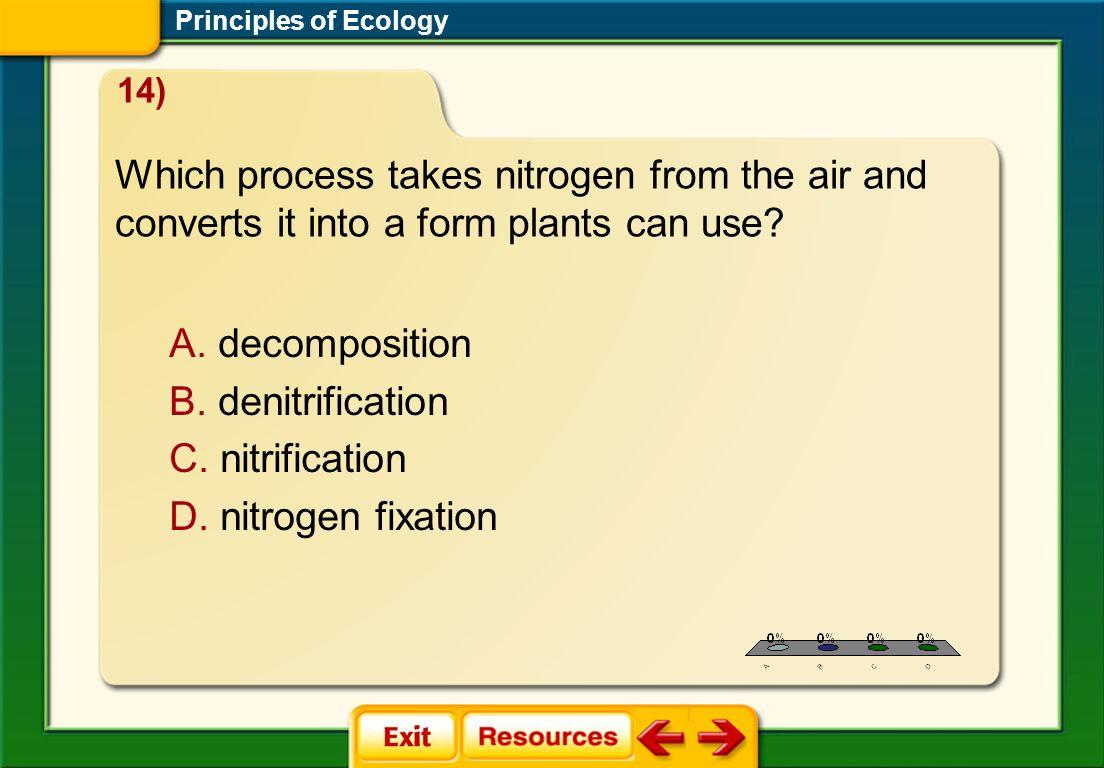 1.A 2.B 3.C 4.D STP 5 A. decomposition B. denitrification C. nitrification D. nitrogen fixation Principles of Ecology Which process takes nitrogen fro