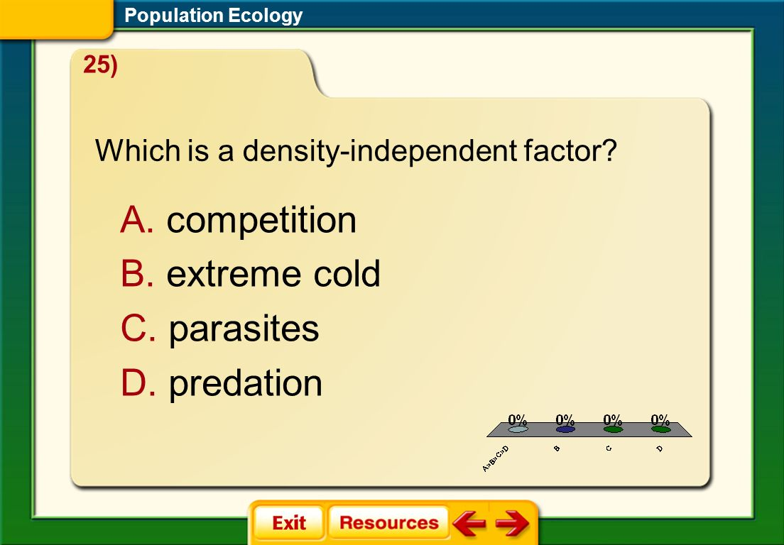 1.A 2.B 3.C 4.D FQ 2 Population Ecology A. competition B. extreme cold C. parasites D. predation 25) Which is a density-independent factor?