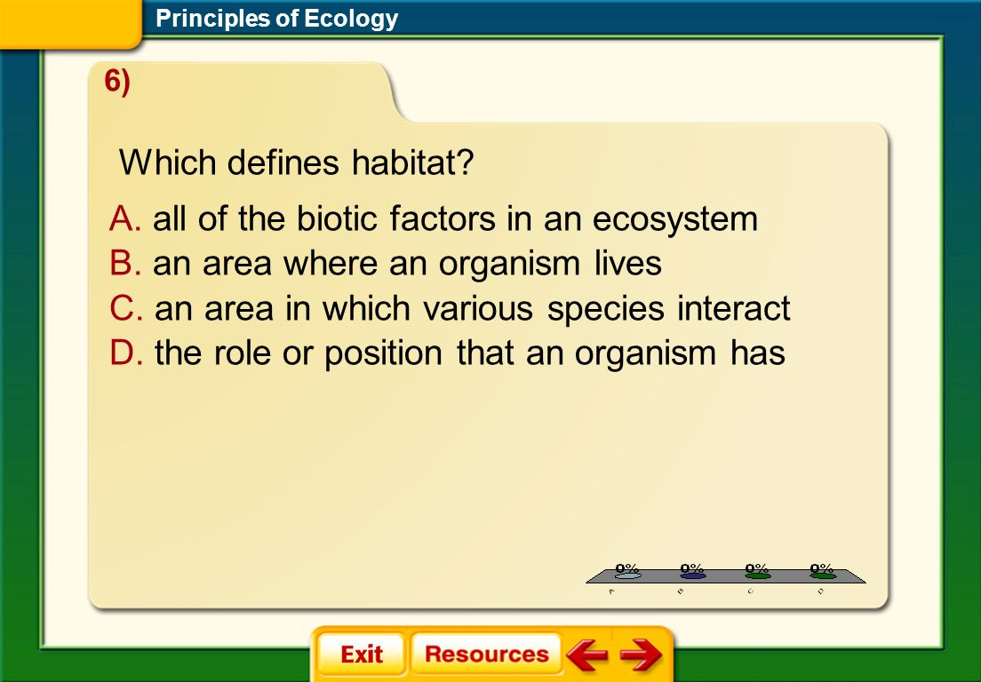 1.A 2.B 3.C 4.D FQ 3 A. all of the biotic factors in an ecosystem B. an area where an organism lives C. an area in which various species interact D. t