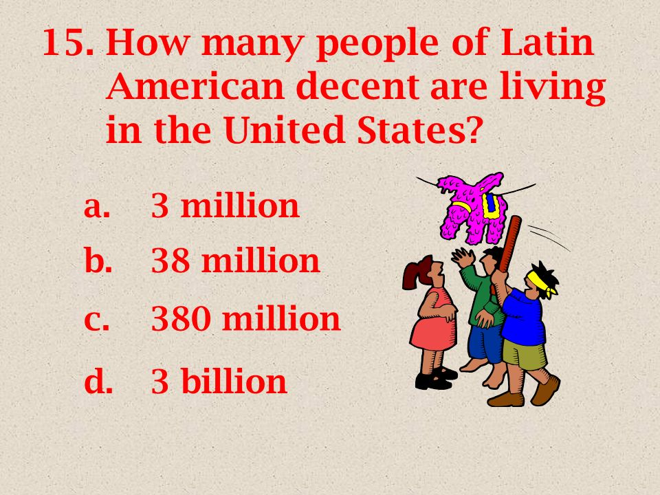 15.How many people of Latin American decent are living in the United States.