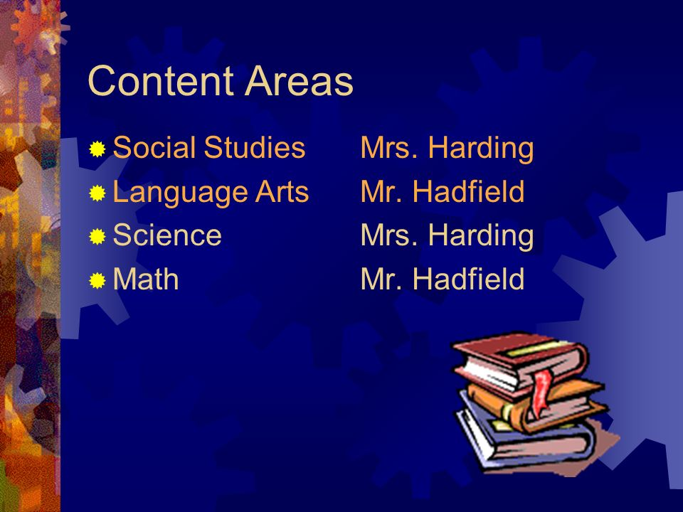 Content Areas Social StudiesMrs. Harding Language Arts Mr. Hadfield ScienceMrs. Harding MathMr. Hadfield