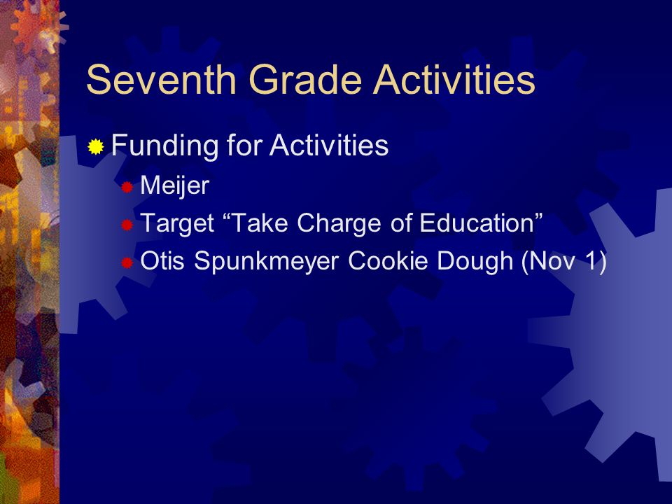 Seventh Grade Activities Funding for Activities Meijer Target Take Charge of Education Otis Spunkmeyer Cookie Dough (Nov 1)