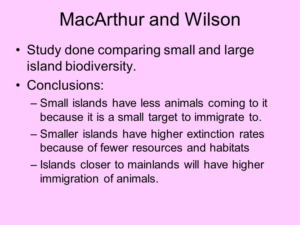 MacArthur and Wilson Study done comparing small and large island biodiversity. Conclusions: –Small islands have less animals coming to it because it i