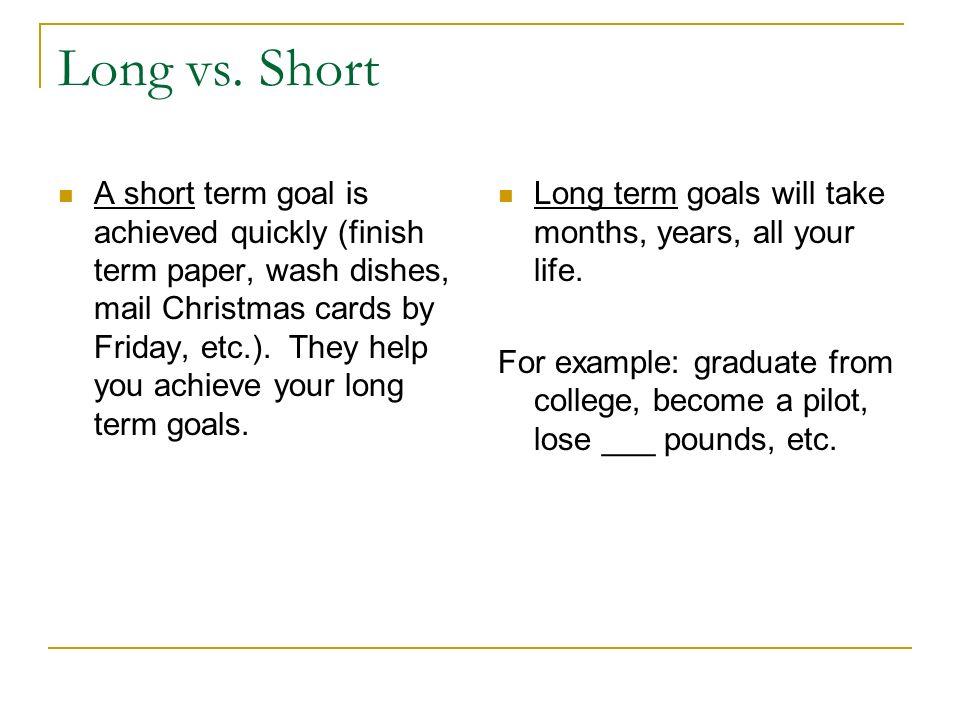 long and short term career goals mba essay Application essay - post mba short and long-term goals with a mba from your esteemed university, i can see all of these long and short-term goals as imminent.