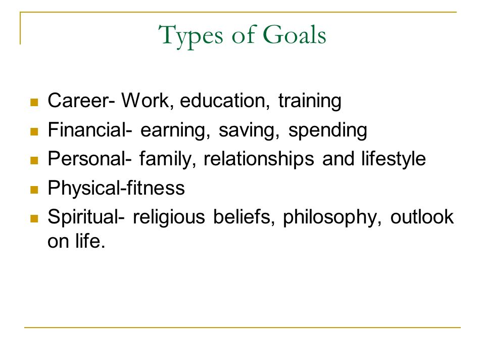 Types of Goals Career- Work, education, training Financial- earning, saving, spending Personal- family, relationships and lifestyle Physical-fitness S