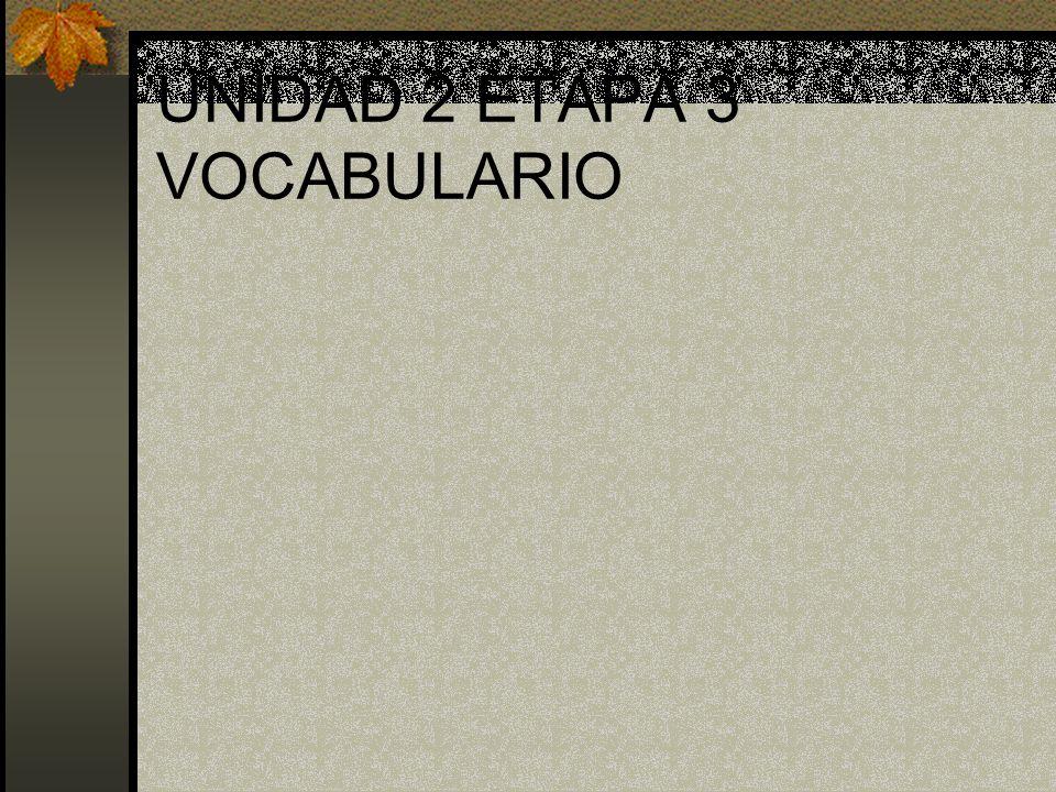 UNIDAD 2 ETAPA 3 VOCABULARIO