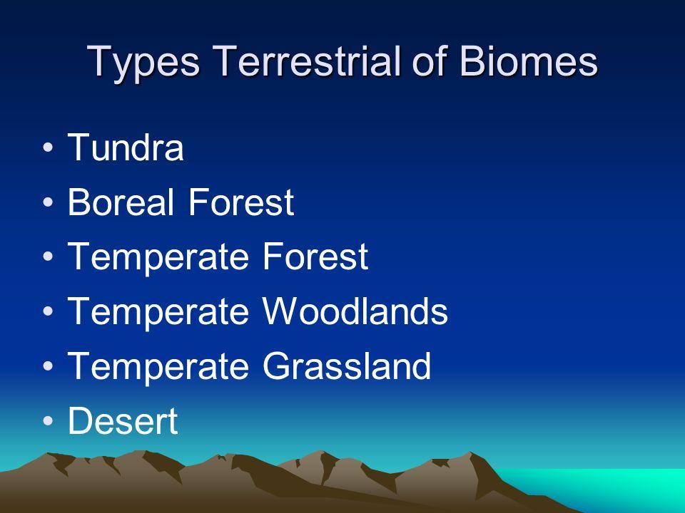 Types Terrestrial of Biomes Tundra Boreal Forest Temperate Forest Temperate Woodlands Temperate Grassland Desert