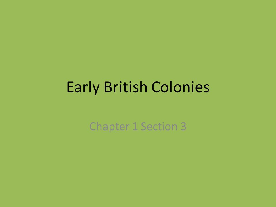 Early British Colonies Chapter 1 Section 3