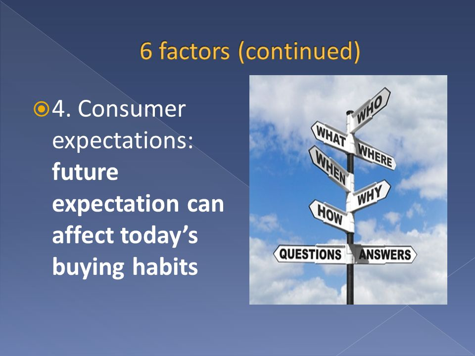 4. Consumer expectations: future expectation can affect todays buying habits