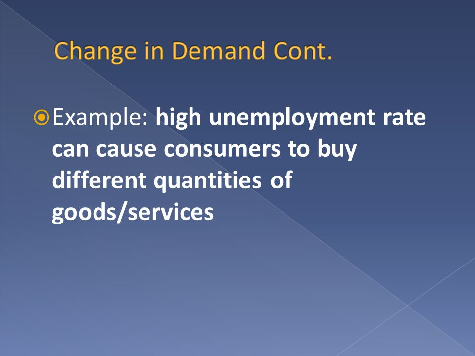 Example: high unemployment rate can cause consumers to buy different quantities of goods/services