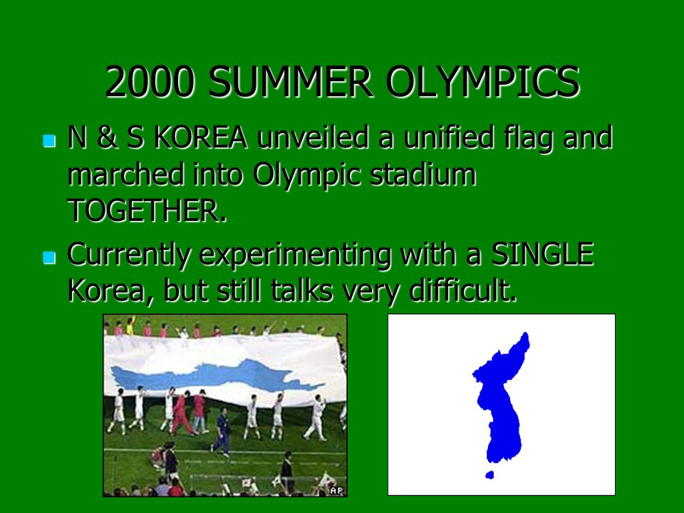 2000 SUMMER OLYMPICS N & S KOREA unveiled a unified flag and marched into Olympic stadium TOGETHER.