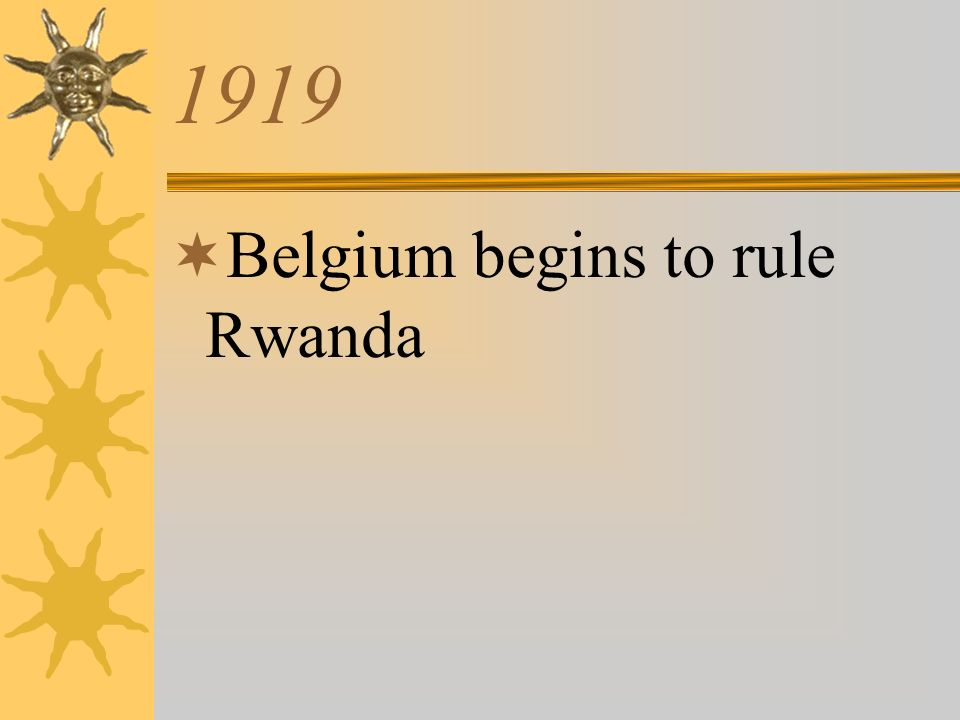 1919 Belgium begins to rule Rwanda