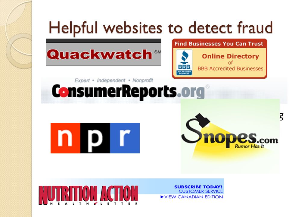Helpful websites to detect fraud Quackwatch.org
