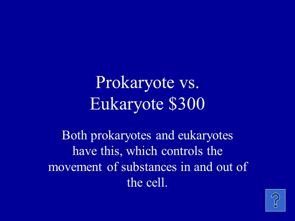 Prokaryote vs. Eukaryote $200 What main organelle is present only in eukaryotes
