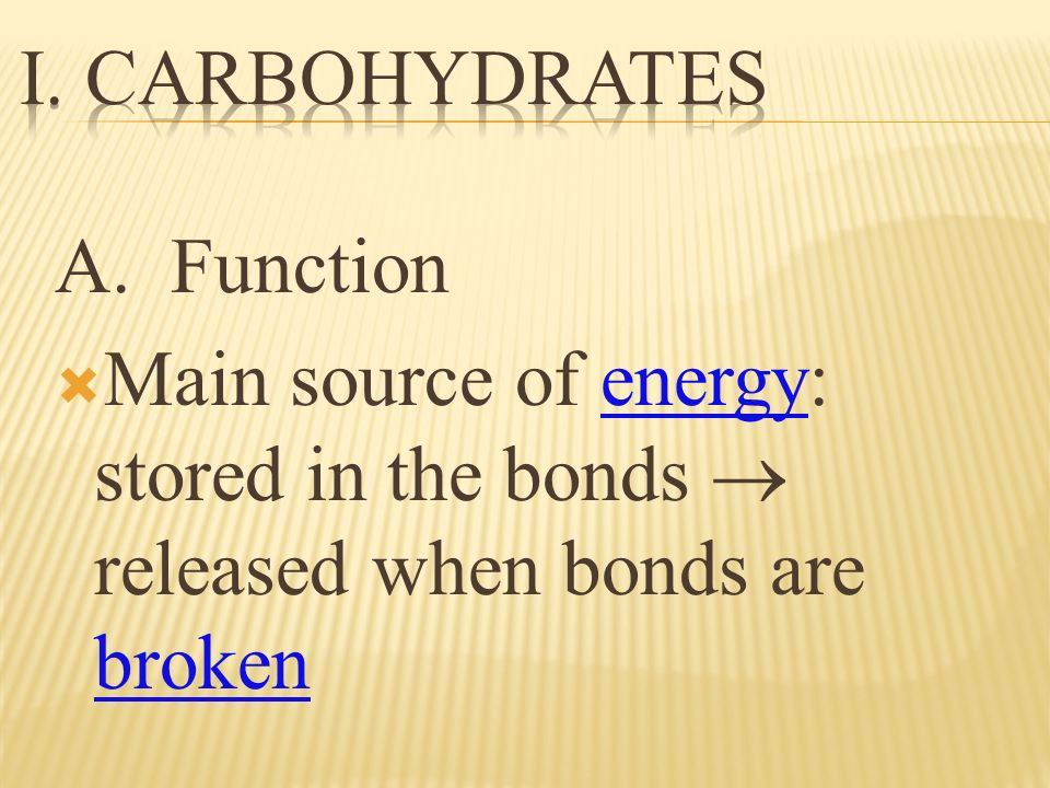 A. Function Main source of energy: stored in the bonds released when bonds are broken