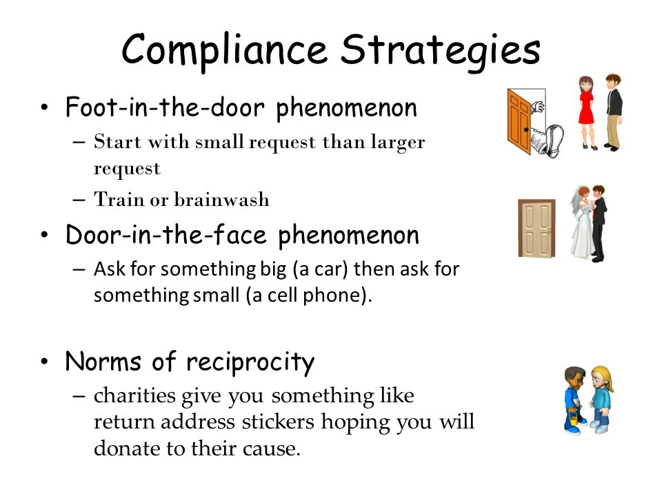 Compliance Strategies Foot-in-the-door phenomenon – Start with small request than larger request – Train or brainwash Door-in-the-face phenomenon – As