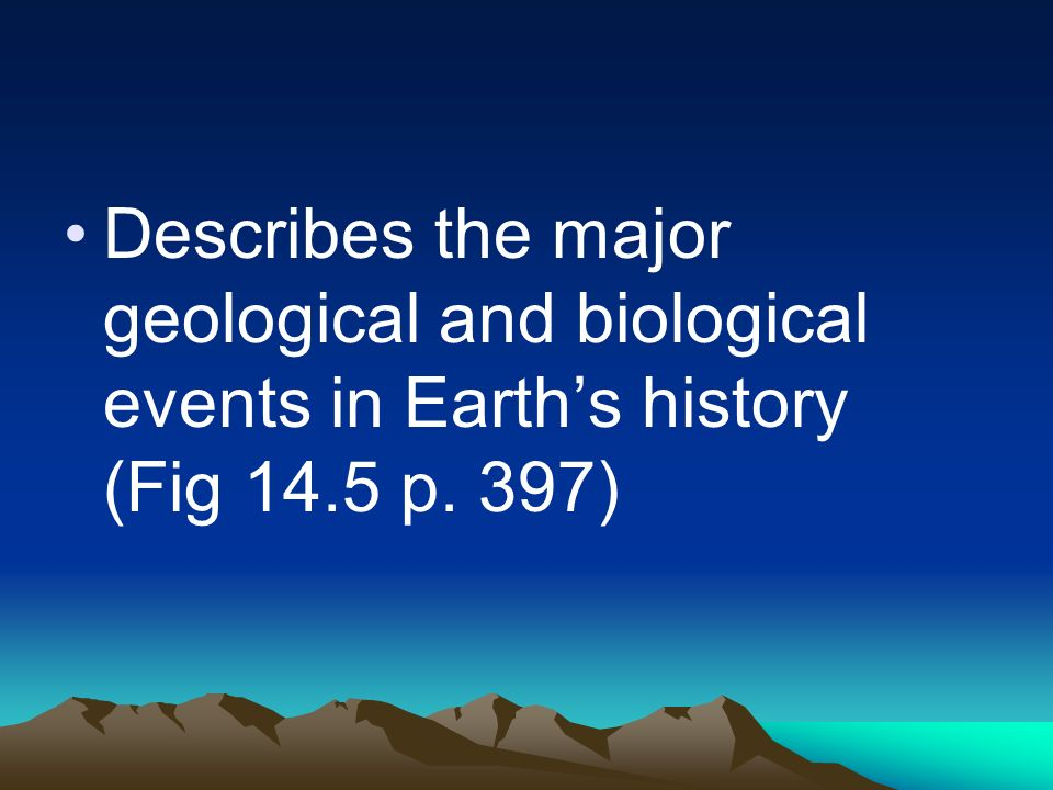 Describes the major geological and biological events in Earths history (Fig 14.5 p. 397)
