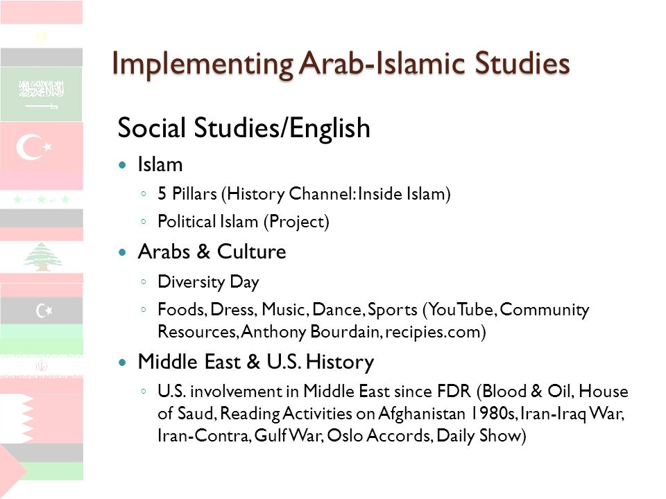 Implementing Arab-Islamic Studies Social Studies/English Islam 5 Pillars (History Channel: Inside Islam) Political Islam (Project) Arabs & Culture Diversity Day Foods, Dress, Music, Dance, Sports (YouTube, Community Resources, Anthony Bourdain, recipies.com) Middle East & U.S.