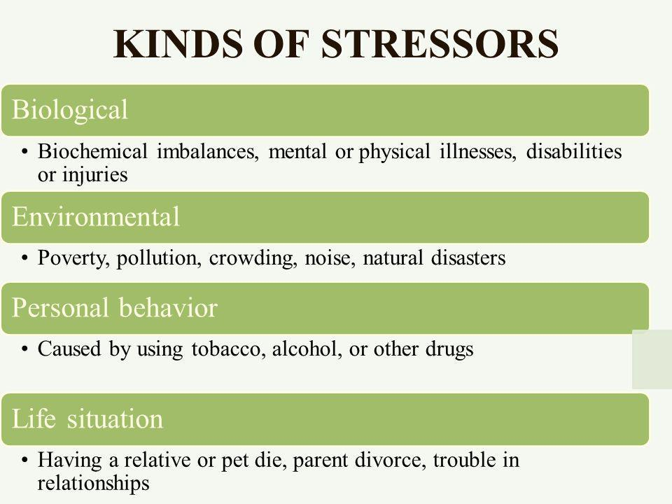 KINDS OF STRESSORS Biological Biochemical imbalances, mental or physical illnesses, disabilities or injuries Environmental Poverty, pollution, crowding, noise, natural disasters Personal behavior Caused by using tobacco, alcohol, or other drugs Life situation Having a relative or pet die, parent divorce, trouble in relationships