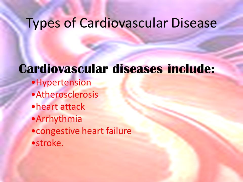 Types of Cardiovascular Disease Cardiovascular diseases include: Hypertension Atherosclerosis heart attack Arrhythmia congestive heart failure stroke.