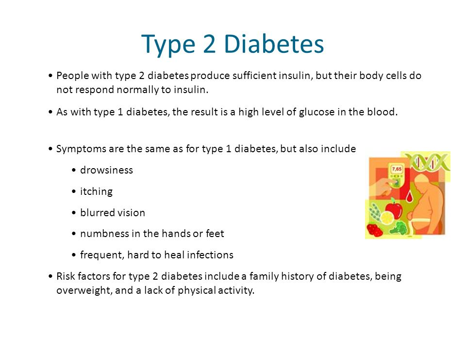 People with type 2 diabetes produce sufficient insulin, but their body cells do not respond normally to insulin. Type 2 Diabetes As with type 1 diabet